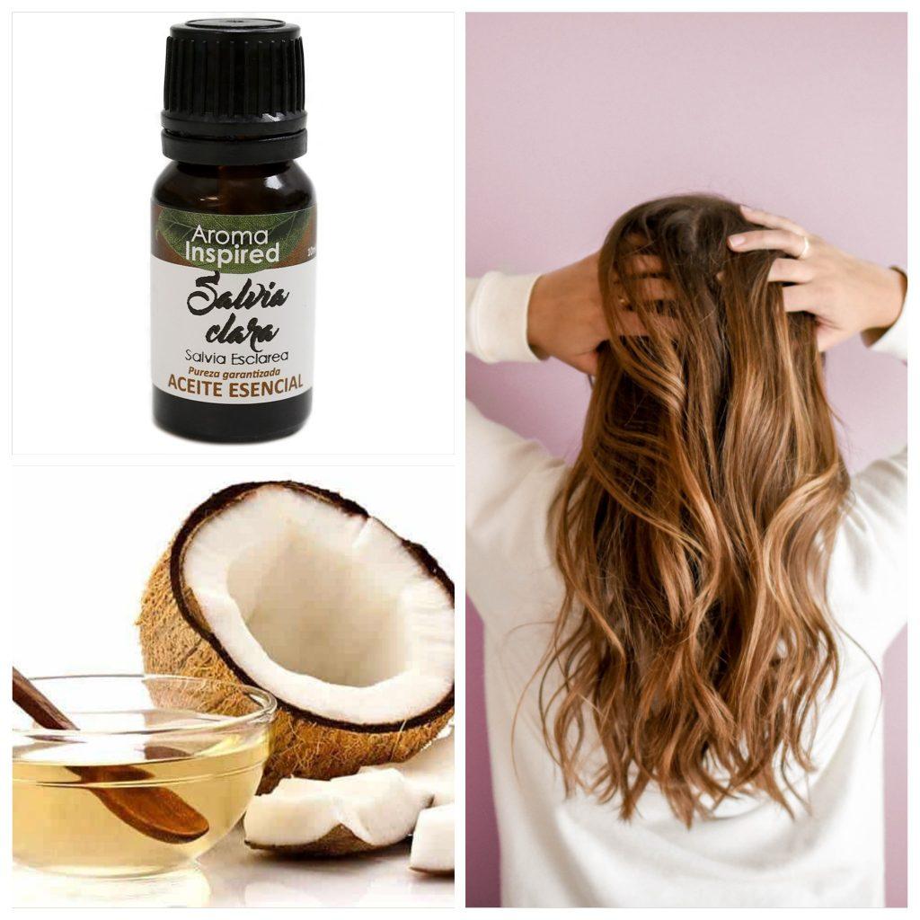 El uso de remedios naturales con aceite de coco y salvia dan brillo al cabello