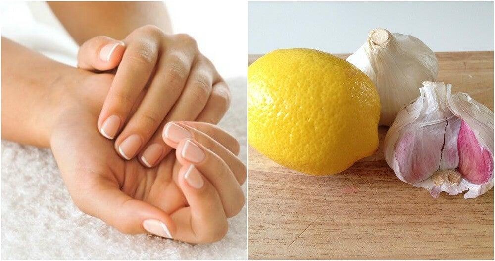 limón, ajo y manos en una imagen.