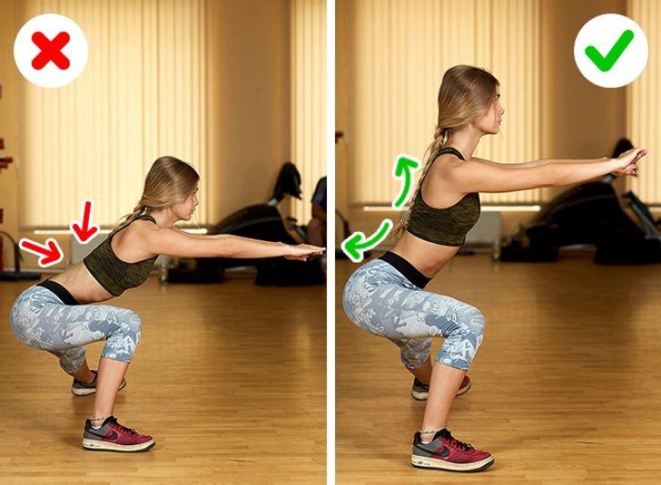 collage de imágenes de una mujer ealizando u ejercicio de manera correcta y de manera equivocada.