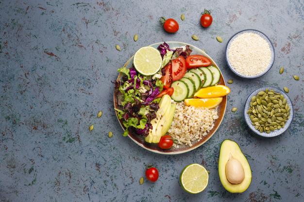arroz, frutas y vegetales para el 7 día