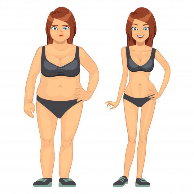 chica antes y después de eliminar grasa corporal