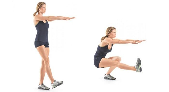Imágenes de mujer realizando ejercicio de sentadillas con una pierna.