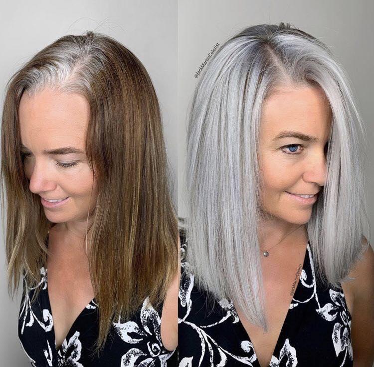 mujer cambia de look con color silver en el cabello