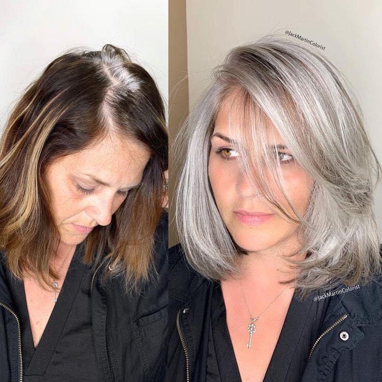 chica con arreglo del cabello usando color silver y corte long bob.